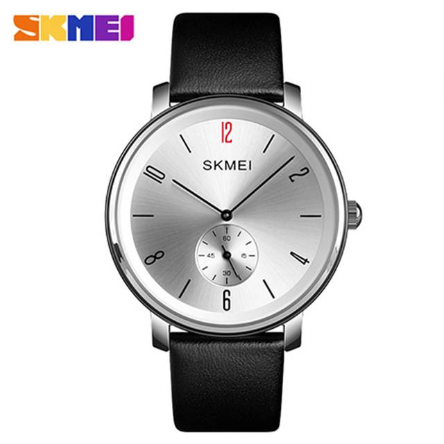 SKMEI Genuine Leather Band Quartz Men's Watch (Model: 1398)
