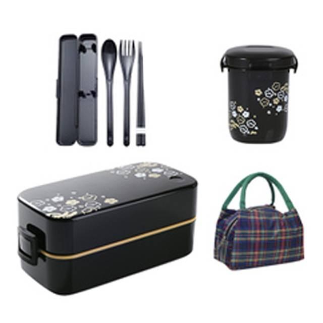 Japanese Sakura Two-layer Plastic Microwave Lunch Box Set, Black  (Cutlery set + Soup Bowl + Bag) (Model: FUDOGIKEN-B3)
