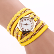 Woven PU Leather Belt Bracelet Quartz Movement Women's Watch (Model: XR388)