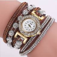 Rhinestones Velvet Bracelet Quartz Movement Women's Watch (Model: D196)