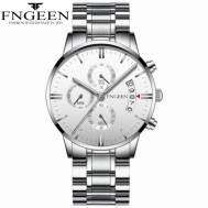FNGEEN Waterproof Three-dial Dated Quartz Movement Stainless Steel Strap Men's Watch (Model: 5055)