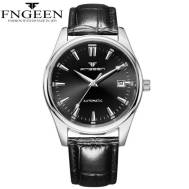 FNGEEN Waterproof Classic Dated Quartz Movement Leather Steel Strap Men's Watch (Model: 2111)