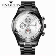 FNGEEN Three-dial Time Dated Luminous Stainless Steel Quartz Movement Men's Watch (Model: 5410)