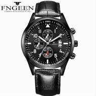 FNGEEN Three-dial Time Dated Luminous Leather Strap Quartz Movement Men's Watch (Model: 5410)