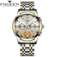 FNGEEN Time Dated Week Luminous Stainless Steel Quartz Movement Men's Watch (Model: 4001)