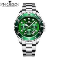 FNGEEN Three-dial Calendar Function Date Just Luminous Steel Strap Quartz Movement Men's Watch (Model: 8080)