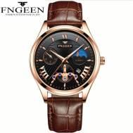 FNGEEN 50m Depth Three-dial Ultra-Thin Quartz Movement Leather Strap Men's Watch (Model: 5606)