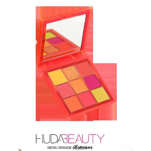 HUDA BEAUTY 9 Color Neon Orange Obsession Craze Eyeshadow Palette Party Look Makeup (Model: 509ED-O)