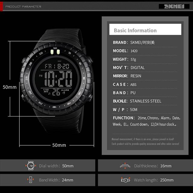SKMEI Luminous Dual Time Chronograph 50m Depth Waterproof Digital Men's Watch (Model: 1420)