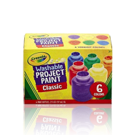 Crayola 6 ct. Washable Project Paint, Classic - 2 oz Bottles (541204) (CRA0026)
