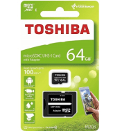 Toshiba Micro SDHC UHS-1 Card 64GB with SD Adapter C10 100MB/s - (Free gift: plastic case + phone U stand)
