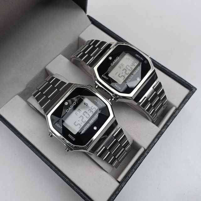 Casio Silver Series Couple Watch A159 M( First Copy ) + Gift