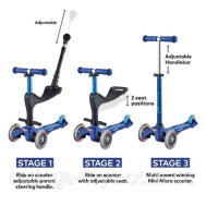 Monument Mini Micro 3in1 Deluxe Plus Scooter:Blue(7630053534722)