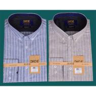 DICE Linen Men Shirt LS 1302 - Blue , Brown