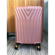 "20""Inch ABS Stripe Scratch Resistant Zipper 3 Digit Travel Password Lock Luggage (WL-20-005) Rose Gold"