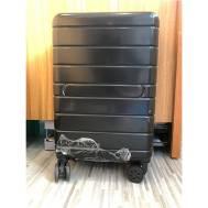 "20""Inch ABS Stripe Scratch Resistant Zipper 3 Digit Travel Password Lock Luggage (WL-20-003) Black"