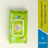 Betadine Antibacterial Hand and Mouth Wipes for Kids 70's ( Gift - Betadine BARSOAP Orange 110g)