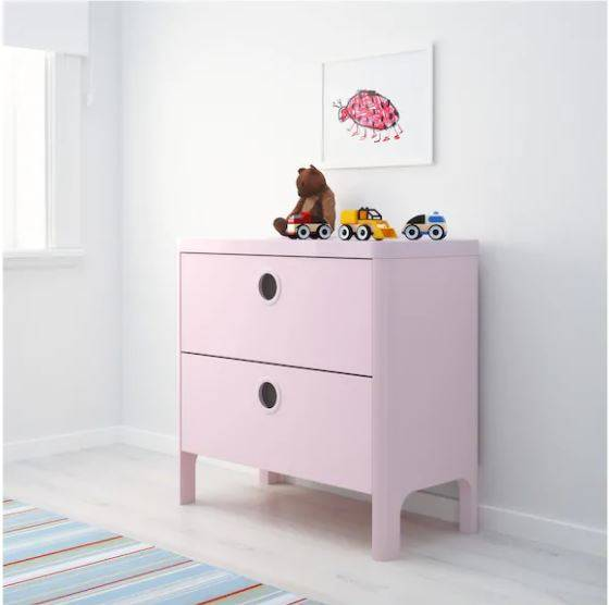 IKEA BUSUNGE (Chest of 2 drawers, light pink) (603.513.49)