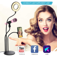 "Selfie LED Ring Light 4"" (4လက္မ LED မီးလုံး  မိုက်တင်တဲ့ Stand လည်းပါ)"