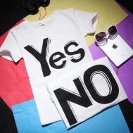 Selfiee Yes No Couple Shirt (2pcs)
