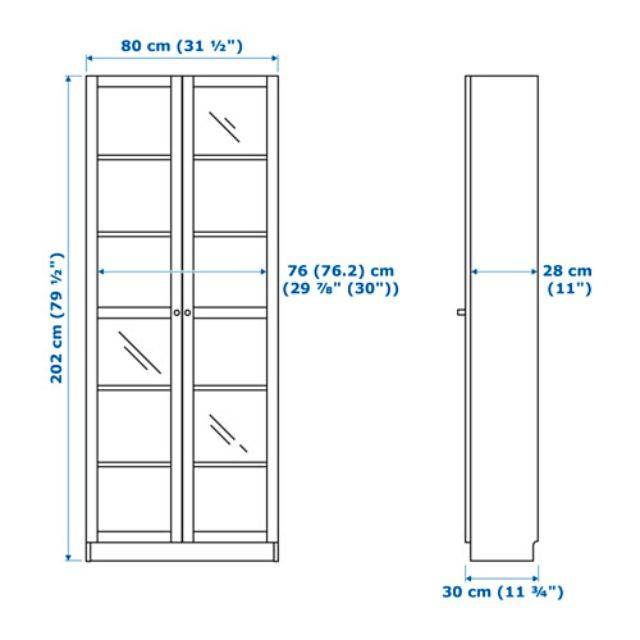 IKEA BILLY / OXBERG (Bookcase with glass door, black brown) (591.844.4)