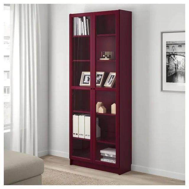 IKEA BILLY (Bookcase with glass door, dark red) (603.856.17)