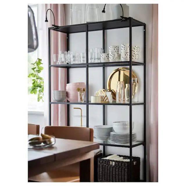 IKEA VITTSJÖ (Shelving unit, black-brown, glass 2x4) (802.133.14)