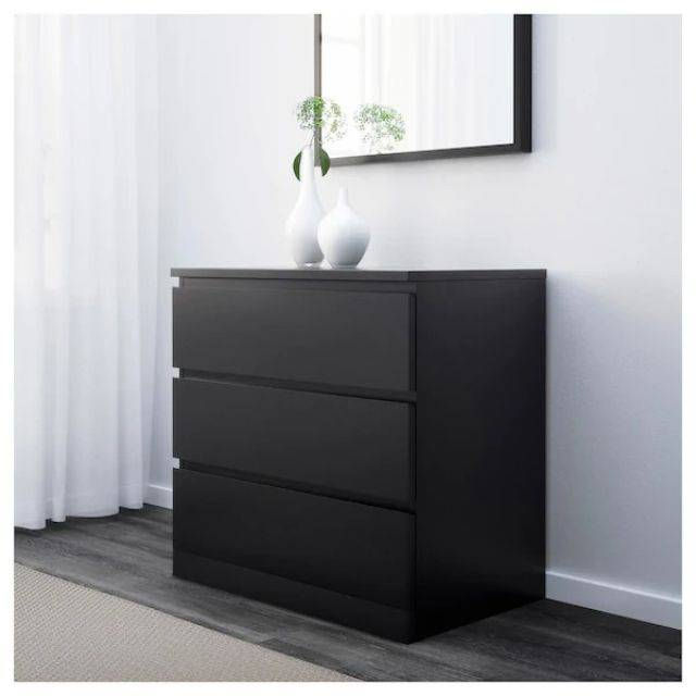 IKEA MALM (Chest of 3 drawers, black brown) (303.546.22)