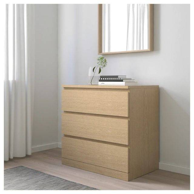 IKEA MALM (Chest of 3 drawers,  white stained ash veneer) (303.546.60)