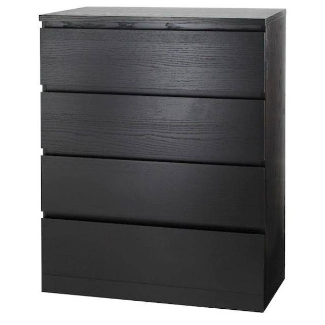 IKEA MALM (Chest of 4 drawers, black brown) (103.546.23)