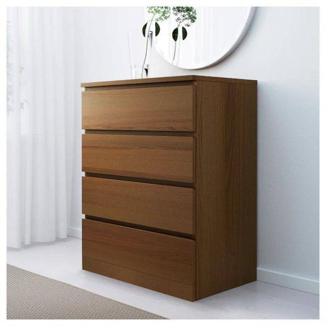 IKEA MALM (Chest of 4 drawers,  brown stained ash veneer) (103.546.61)