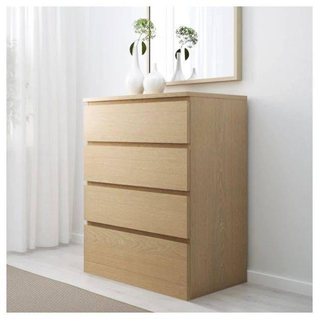 IKEA MALM (Chest of 4 drawers,  white stained ash veneer) (903.546.62)