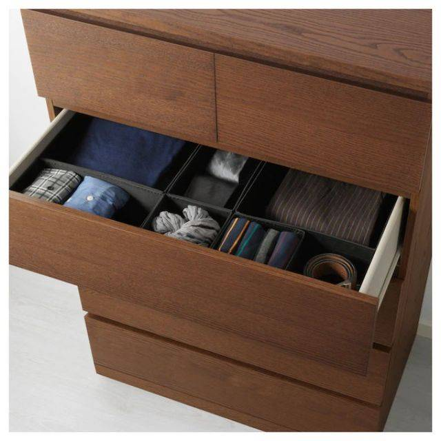 IKEA MALM (Chest of 5 drawers,  brown stained ash veneer) (403.546.69)
