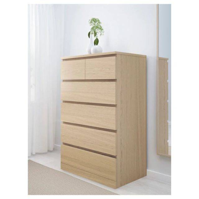 IKEA MALM (Chest of 5 drawers,  white stained ash veneer) (203.546.70)