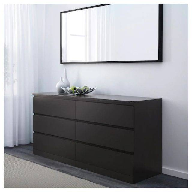 IKEA MALM (Chest of 6 drawers, black brown 2) (903.546.24)