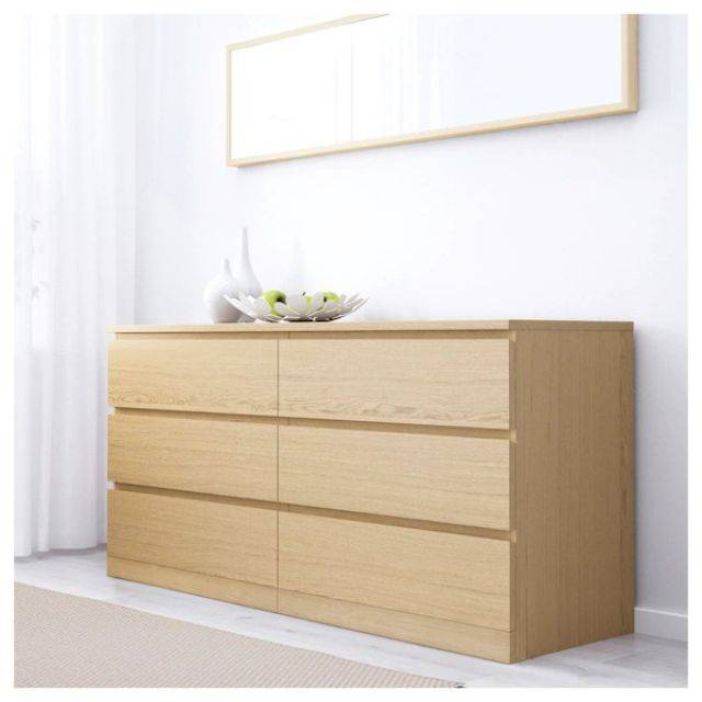 IKEA MALM (Chest of 6 drawers,  white stained ash veneer 2) (503.546.64)