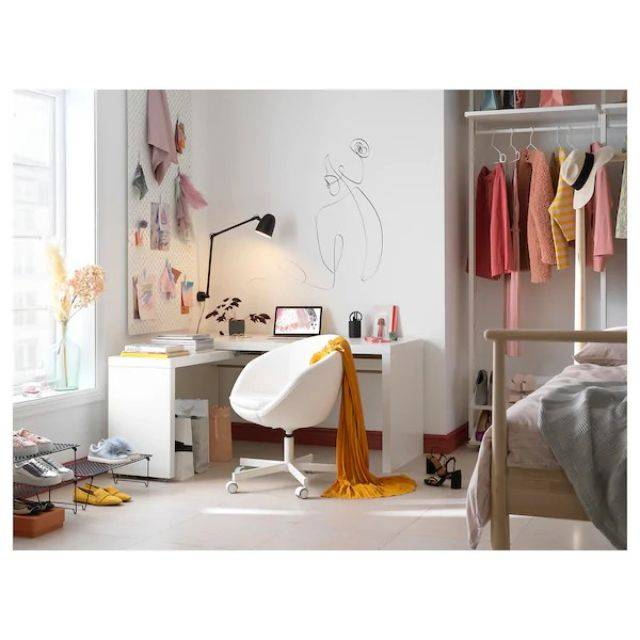 IKEA MALM (Desk with pull-out panel, white) (203.611.52)