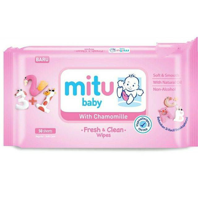 MITU BABY WET TISSUE REGULAR 24'S (PINK) (Buy Any 5000ks Give Mitu Powder 50g (1pcs) Buy Any 10000ks Give Mitu Powder 100g(1pcs))