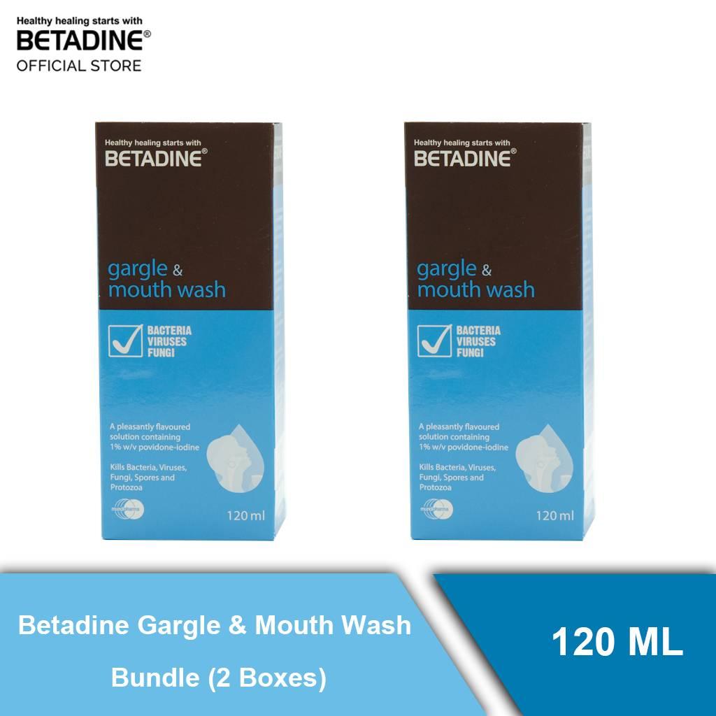 Betadine Gargle & Mouth Wash Bundle (2 Boxes) 120 ml ( Gift - Mask )