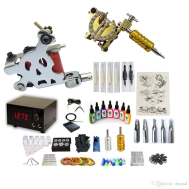 High Quality Tattoo Kit 2 machines Digital Power Supply 7 Inks 50 Needles 2 Grips classic daily