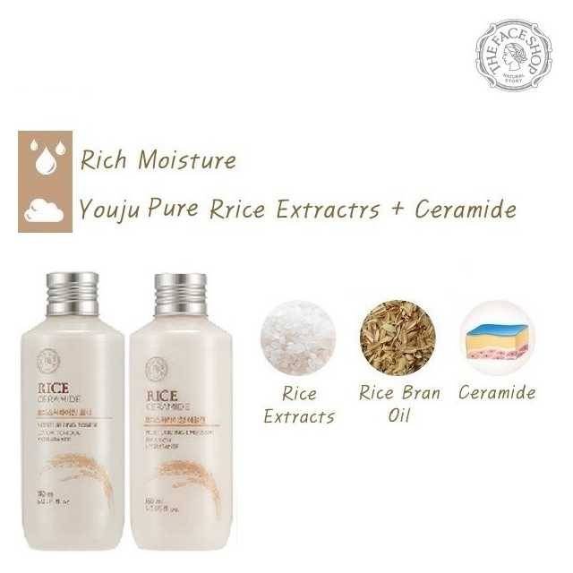 The Face Shop Rice & Ceramide Moisturizing Set : Emulsion 150ml + Toner 150ml (FSS-03S2)