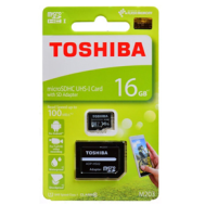 Toshiba MicroSDHC UHS-1 Card 16GB with SD Adapter C10 100MB/s - (Free gift: Plastic case)