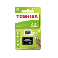 Toshiba MicroSDHC UHS-1 Card 32GB with SD Adapter C10 100MB/s (Free Gift - Dual Plastic Case)
