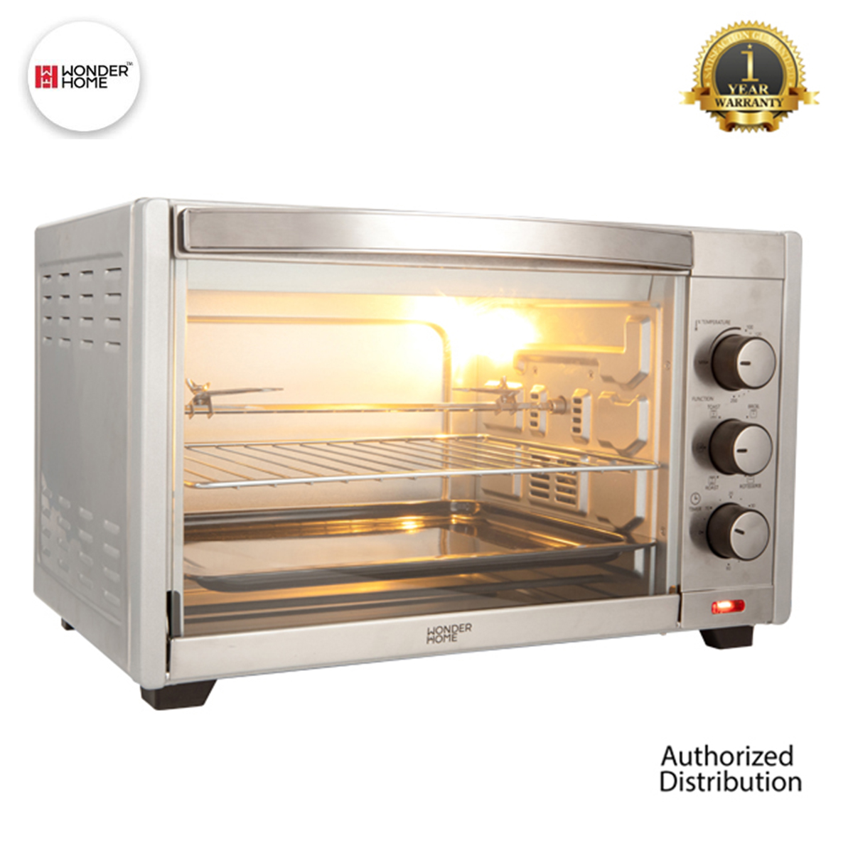 WONDER HOME Stainless Steel Electric Oven 35 Liter 1600W (WH-O-35)