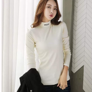 Selfiee MSQM Stretchy Long Sleeve Turtleneck Blouse