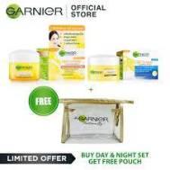 GARNIER LIGHT COMPLETE  WHITENING YUZU DAY & NIGHT CREAM BUNDLE 18ML WITH FREE POUCH