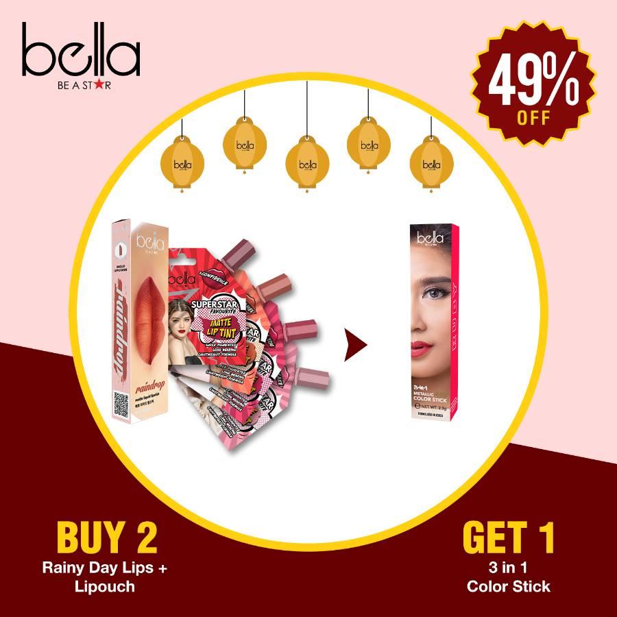 Buy Bellla Lip Pouch + Rainy Lip >>Get Bella Academy Lipstick