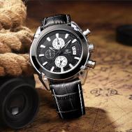 MEGIR Men Watch /Genuine Leather/Auto Date,Chronograph,Water Resistant,Complete Calendar,Stop Watch (MG005)