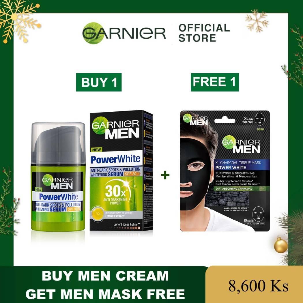GARNIER MEN POWER WHITE WHITENING SERUM SPF30 40ML ( Free Men Mask 50ml)