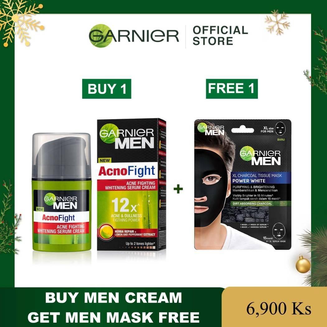 GARNIER MEN ACNO FIGHT ANTI-ACNE WHITENING SERUM CREAM 40ML ( Free Men Mask)